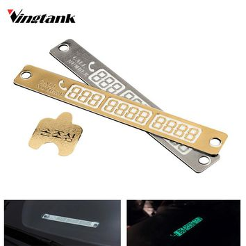 New Temporary Telephone Number Parking Card Car Styling Phone Number Card Notification Night Light Luminous Sucker Plate 15*2cm