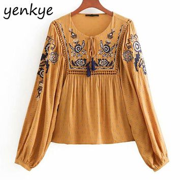 Women Tassel Lace Up O Neck  Embroidery Blouse Female Long Puff Sleeves Gathered Autumn Tunic Casual  Vintage Tops CCWM8839