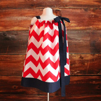 Navy Chevron Dress - Newborn to Child 7/8 - girls dress baby toddler infant Avalanche Canadiens New York Rangers LA Angels Phillies