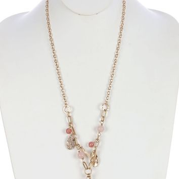 Pink Chunky Natural Stone Pendant Necklace