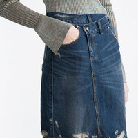 High Rise Mini Denim Skirt With Rips & Shredding