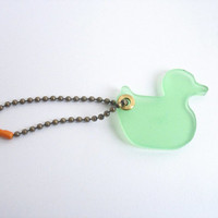 Mint green resin duck keychain , resin tag , bag tag , zipper tag, bronze chain , christmas gift tag , handmade Sydney Australia , animal