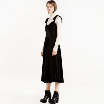 Tie-neck dress long sleeve 1990