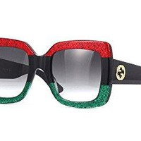 Gucci GG0083S 001 Red-Black With Grey Gradient Lenses 55MM Sunglasses