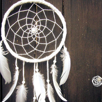 Dream Catcher - With White Feathers, White Frame and White Web - Boho Home Decor, Nursery Mobil