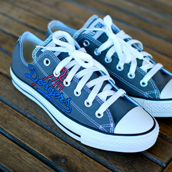 Hand Painted LA Dodgers theme Charcoal Low Top Chuck Taylor Converse - Customizable