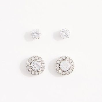 2-Pack Bordered Round Cubic Zirconia Stud Set | Studs | rue21