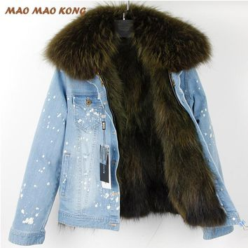 2017New Fashion Women Real Raccoon Fur Denim Jacket Female Warm Fur Coats Natural Raccoon Fur Collar Real Raccoon Fur Lined Park