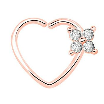 OUFER 16Gauge Flower CZ Heart Left Closure Daith Cartilage Tragus Earrings Body Piercing Jewelry