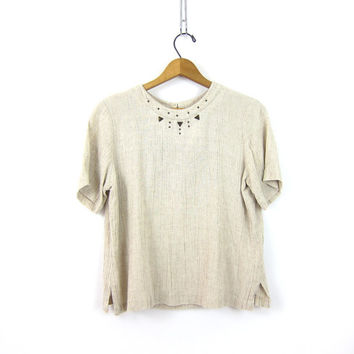 Vintage Natural Off White Flax Rayon blouse Short Sleeve Top Cropped minimalist Shirt Basic Simple Crop Khaki Preppy shirt Womens Size Small