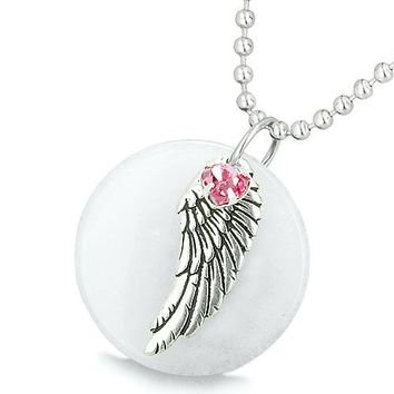 Amulet Angel Wing White Jade MedalliPink Swarovski Elements Heart Lucky Feather Pendant Necklace