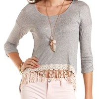Crochet-Trim High-Low Ribbed Tee by Charlotte Russe
