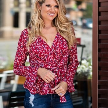 Handle With Care Floral V Neck Blouse : Red