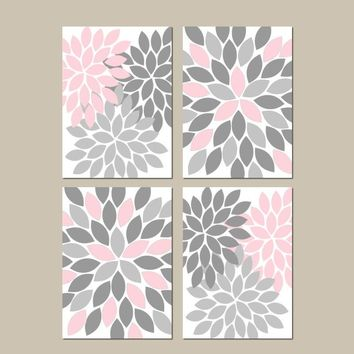 PINK GRAY Nursery Wall Art, CANVAS or Prints, Bedroom Wall Decor, Bathroom Decor, Flower Wall Art, Home Decor, Flower Petals, Set of 4