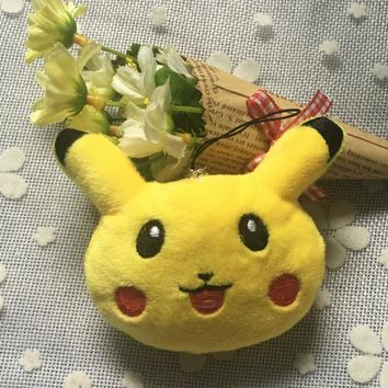 NEW ON Kawaii Pikachu 8*6CM Approx. Stuffed Plush TOY Doll , Kid's Gift keychain String Rope Plush TOY DOLL