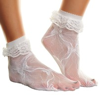 2 Pairs of Lace Anklet Socks with Ruffles