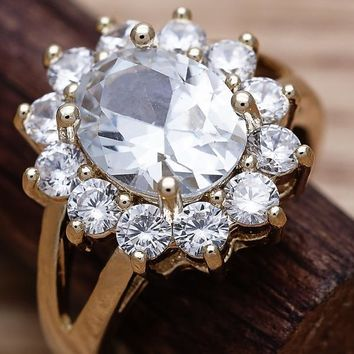 Gold Layered Women Flower Multi Stone Ring, with White Cubic Zirconia, by Folks Jewelry