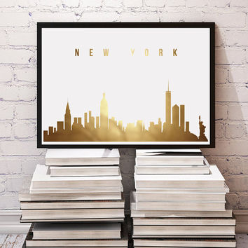 New York Skyline, Real Gold Foil, Gold Print, NYC Skyline Gold Foil, Illustration Art Print, Wall Decor, Modern Wall Art, Office Decor.