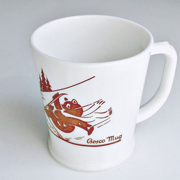 Fire KIng Bosco Bear Mug Skiing  Anchor Hocking Vitrock Vintage D Handle