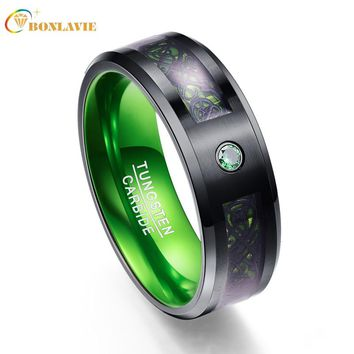 Carbon Fiber Green Zircon Men Rings 100% Tungsten Carbide Wedding Bands Gift Anillos para hombres Black Dragon