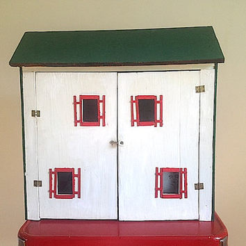 Primitive Handmade Vintage DOLL House -  Special Christmas Gift For Daughter Granddaughter, 1960's Dollhouse, Mid Century Modern Doll House
