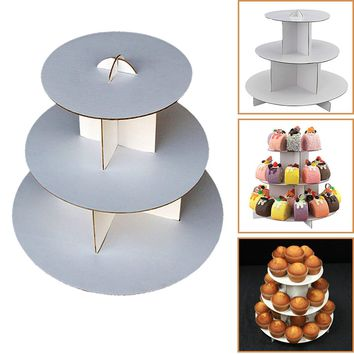 """Adorox 3-Tier (12""""W x 10""""H) White Round Cardboard Cupcake Stand Dessert Tower Treat Stacker Pastry Serving Platter Food Display (Round Stand (1Pc))"""