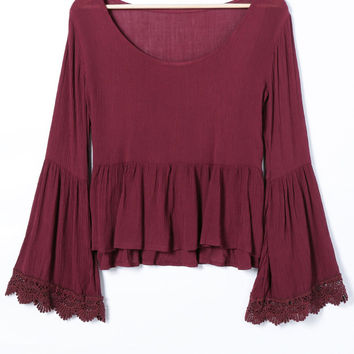 Wine Red Bell Sleeve Ruffle Blouse