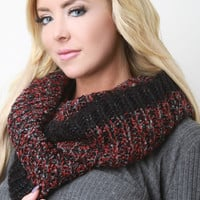 Metallic Threaded Rib Knit Infinity Scarf