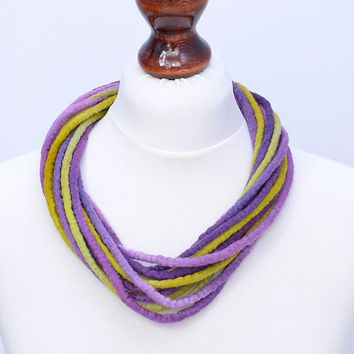 Lime & purple multistrand fiber necklace with twist design - twisted multi strand necklace made of felt rope [N110]