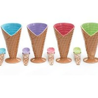 Set Of 4 Large Ice Cream Cone Dishes Bowls With Spoon
