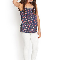 FOREVER 21 GIRLS Flower & Dot Trapeze Cami (Kids) Navy/Coral