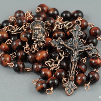 Wire Wrapped Rosary Red Tiger Eye Copper Rustic Catholic