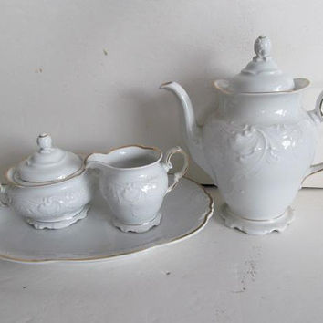 White and Gold Coffee Pot Set Tea Pot Master Sugar Bowl Set Serving Platter Victorian Tea Set White Wawel Poland Casa Oro Fine China Set