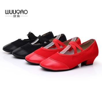 Women Summer New Arrival Red Canvas Dance Shoes Dance Practice Shoes Soft And Breathable PU Shoes Head