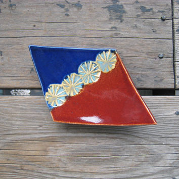Red and Blue Pottery - Rhombus Plate - Jewelry Tray - Ceramics and Pottery - Outdoor Decor - Ceramic Plate - Geometric Decor - Pottery Dish