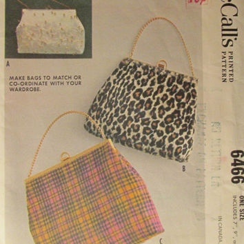 "SALE Uncut 1960's McCall's Sewing Pattern, 6466! 7"", 9"", 12"" Bags/Purses/Fashion Accessory/wardrobe accessory/Purses/Designer Handbags/EasyM"