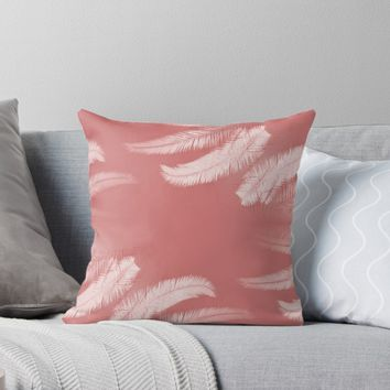 'Palm leaves on cinnamon rose' Throw Pillow by by-jwp