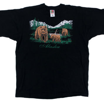 Vintage Alaska Bear T-Shirt - Black Tshirt Graphic Wolves Mountains 90's - Men's Size Extra Large XL