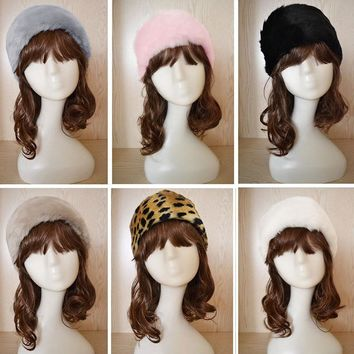 Hot New Winter 7 Colors Women Stretch Twist Headband Turban Faux Fur Head Wrap Bandana Headwear elastic Hair Band Fur hat Warmer