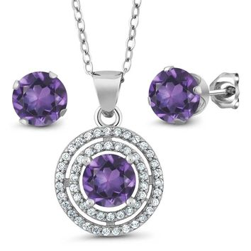 2.89 Ct Round Purple Amethyst 925 Sterling Silver Pendant Earrings Set