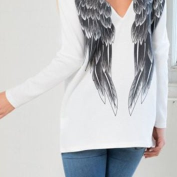White Backless Long Sleeve Wings Print Sweatshirt