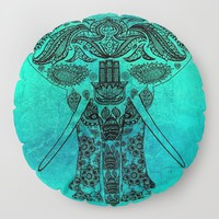 Ornate Patterned Elephant Floor Pillow by inspiredimages