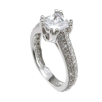 Plutus Brands 925 Sterling Silver Rhodium Finish CZ Princess Antique Style Engagement Ring 1.5 Carat Weight- Size 8