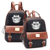 2017 Hot Sales Korean KPOP Bangtan BTS PU Backpack Mochila Student Boys Bag Girls Schoolbag Women Backpacks for Kpop group fans