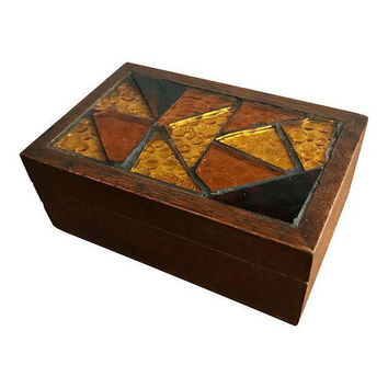 Vintage Jewelry Trinket Keepsake Box w/Amber Cut Glass