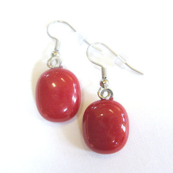 Red Earrings, Fused Glass Earrings, Dangle Earings Jewelry - Red Rose - 1265 -2