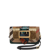 Burberry Peregrine One-of-a-Kind Sequined Patchwork Bag w/Check Canvas Trim
