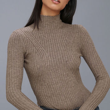 Crawford Light Brown Long Sleeve Mock Neck Bodysuit
