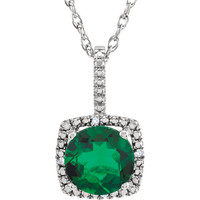 """Sterling Silver 7mm Created Emerald & .015 CTW Diamond 18"""" Necklace"""
