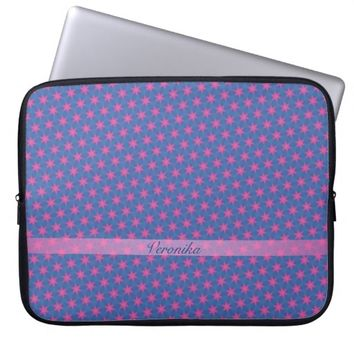 Pink stars on a blue background. Add name. Computer Sleeve